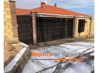 Откатные ворота и калитка с полотнами из металлической филёнки