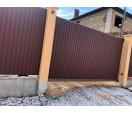 Откатные ворота с заполнением профнастилом 3500*2100 мм